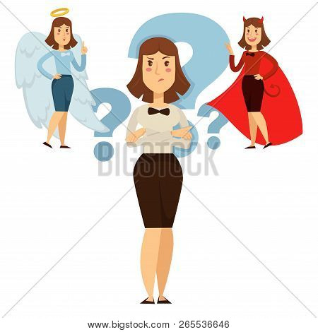 Woman Choice Between Good And Behavior, , People Decide