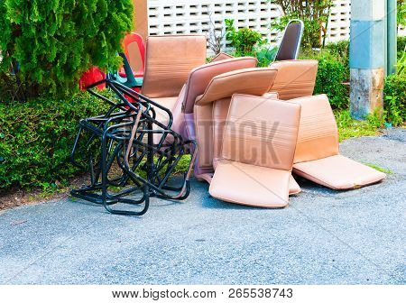 Office Chair Leather Brown Old Damage Dirty Heap On The Floor Road