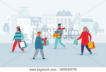 Happy Characters Shopping On Winter Holidays. People With Christmas Gifts On City Street. Woman And