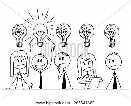 Cartoon Stick Man Drawing Conceptual Illustration Of Group Of Five Business People, Businessmen And