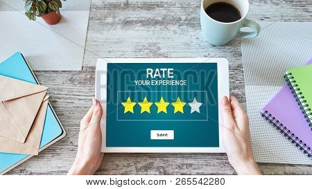 Rate Customer Experience Review. Service And Customer Satisfaction. Five Stars Rating. Business And