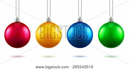 Set Of Isolated Realistic Fir Tree Toys Hanging On Rope. Baubles For 2019 New Year And Christmas Dec