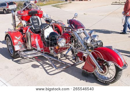 La Mata, Spain - 25 Feb 2012 : Custom Red Trike Parked Outside Bar