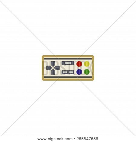 Retro gamepad, joypad, joystick - flat color line icon on isolated background. Old school game controller for video gaming consoles and stations - vector sign or symbol in thin linear style. poster