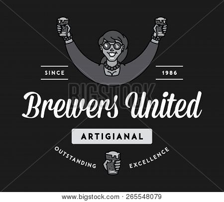 Beer Brewers United White On Black Is A Vector Illustration About Drinking