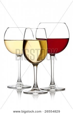 Glass of red and white wine on a white background and with soft shadow.
