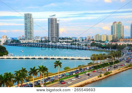 Miami Panorama With Car Traffic. Aerial View Miami Cityscape. Miami Skyline. Miami City Scape In Day