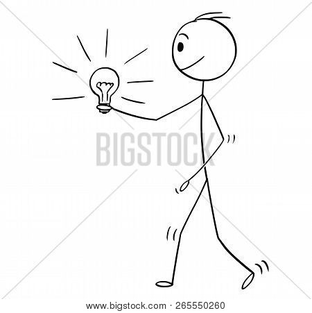 Cartoon Stick Drawing Conceptual Illustration Of Man Or Businessman Walking With Shining Lighbulb Or