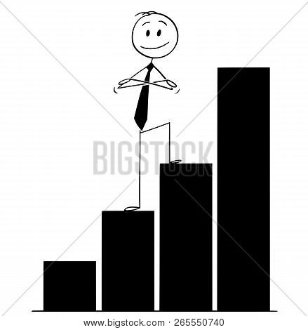 Cartoon Stick Drawing Conceptual Illustration Of Confident Smiling Man Or Businessman Standing On Gr