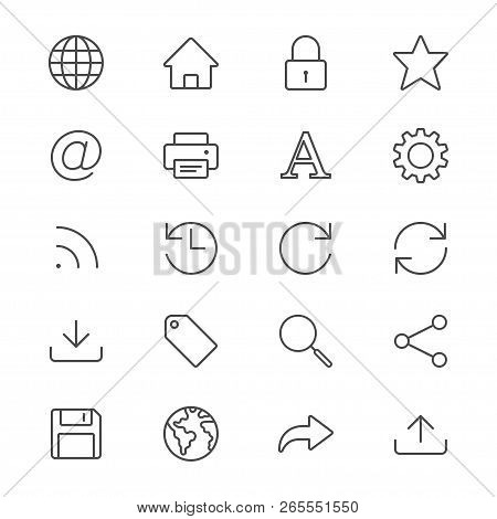 Web Thin Icon Set. Simple Vector Icons. Clear And Sharp. Easy To Resize.