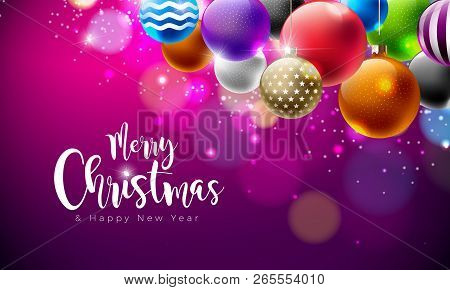 Merry Christmas Illustration With Multicolor Ornamental Balls On Shiny Purple Background. Vector Hap