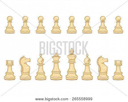 Vector Set Of Cartoon White Chess Pieces.