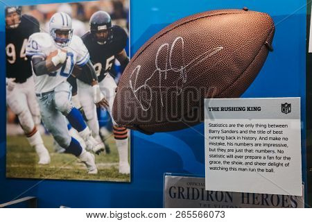 New York, Usa - May 28, 2018: Nfl Memorabilia On Display In Nfl Experience In Times Square, New York