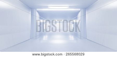 Modern Interior Science Laboratory Or Factory Walkway Background With Fluorescent Lighting In Monoto