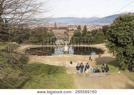 Firenze, Italy - February 04, 2018: Boboli Garden Full Of Tourists In Florence