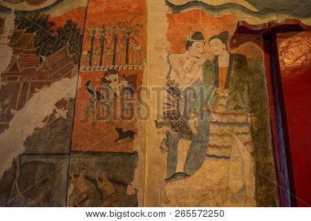 Nan Province, Thailand : January-17-2017 : The Iconic Mural Painting Of Wat Phumin One Of The Most F