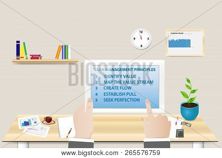 Lean Manufacturing Principles Concept Showing Manager In His Workplace Holding Tablet With Lean Prin