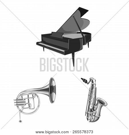Vector Illustration Of Music And Tune Logo. Set Of Music And Tool Stock Symbol For Web.