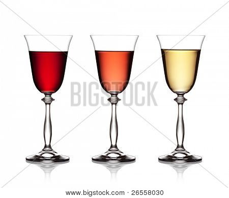set glass of red, rose and white wine on a white background . The file includes a clipping path.