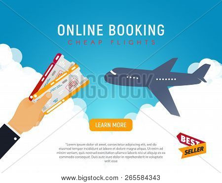 Cheap Flight Travel Vector Banner Best Seller . Online Booking Airline Tickets Background Concept. A