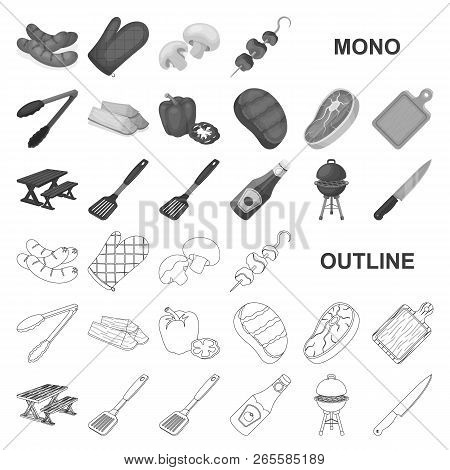 Barbecue And Equipment Monochrom Icons In Set Collection For Design. Picnic And Fried Food Vector Sy