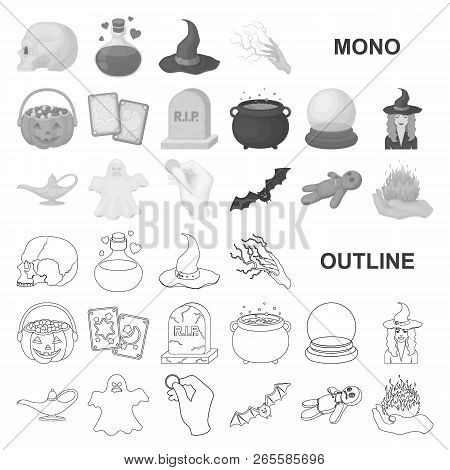 Monochrom And White Magic Monochrom Icons In Set Collection For Design. Attributes And Sorceress Acc