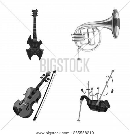 Isolated Object Of Music And Tune Icon. Collection Of Music And Tool Stock Vector Illustration.