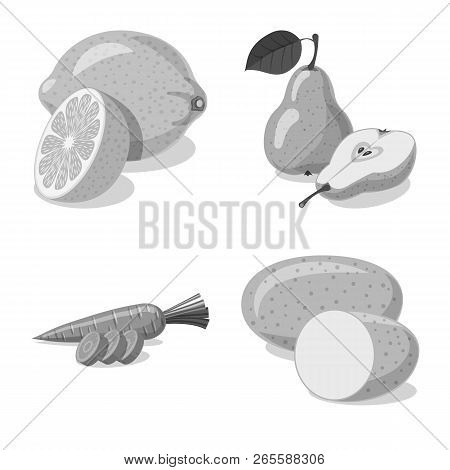 Vector Illustration Of Vegetable And Fruit Sign. Set Of Vegetable And Vegetarian Vector Icon For Sto