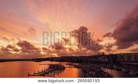 View Of Harbor At Ponta Delgada, Azores, Sao Miguel Island At Sunset. Ocrober 10, 2018. Azores, Port