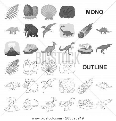 Different Dinosaurs Monochrom Icons In Set Collection For Design. Prehistoric Animal Vector Symbol S