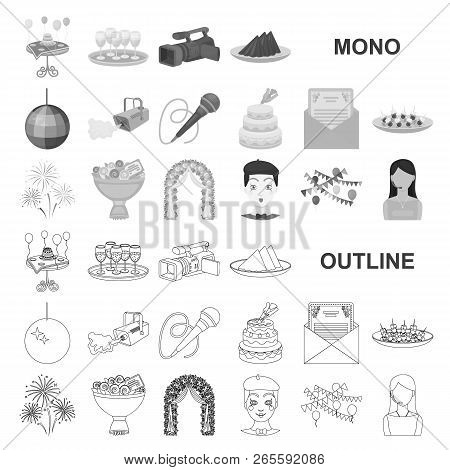 Event Organisation Monochrom Icons In Set Collection For Design.celebration And Attributes Vector Sy