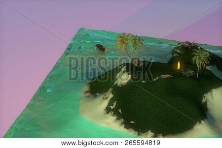 3d Island With Trees And Sea. 3d Ocean. 3d Island In The Ocean Cube. Cubic Ocean. A Piece Of Ocean.