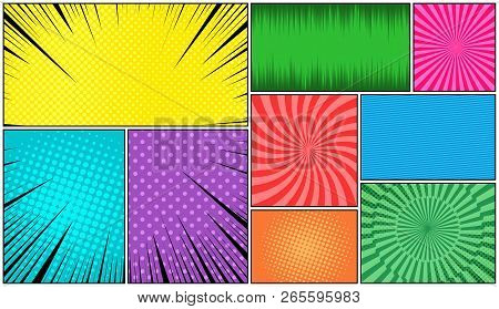 Comic Book Page Bright Composition With Halftone Rays Radial Stripes Dotted Effects In Pop-art Style