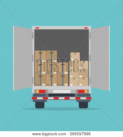 Open Delivery Truck With Cardboard Boxes. Isolated On Blue Background. Transport Services, Logistics