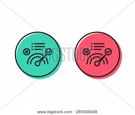 Correct Answer Line Icon. Accepted Or Confirmed Sign. Approved Symbol. Positive And Negative Circle