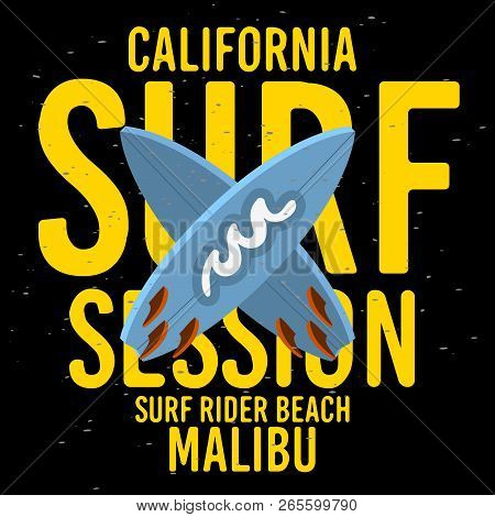 Malibu Surf Rider Beach California Surfing Surf Typographic Type  Design  Sign Label For Promotion A