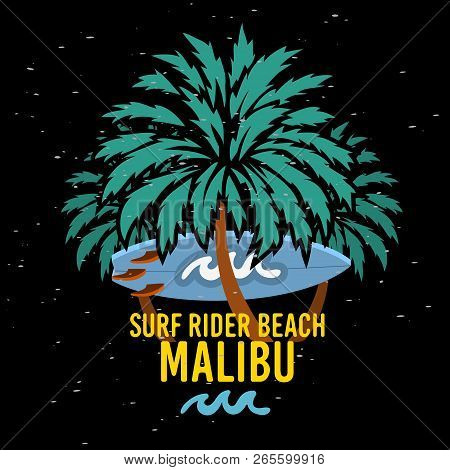 Malibu Surf Rider Beach California Surfing Surf  Sign Label For Promotion Ads T Shirt Or Sticker Pos