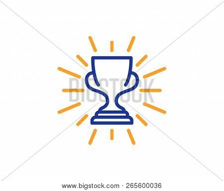 Award Cup Line Icon. Winner Trophy Symbol. Sports Achievement Sign. Colorful Outline Concept. Blue A