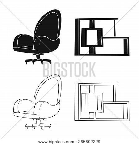 Vector Illustration Of Furniture And Work Icon. Set Of Furniture And Home Stock Vector Illustration.