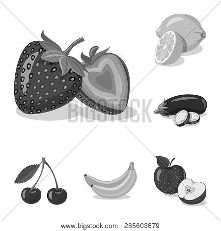Vector Design Of Vegetable And Fruit Symbol. Set Of Vegetable And Vegetarian Vector Icon For Stock.
