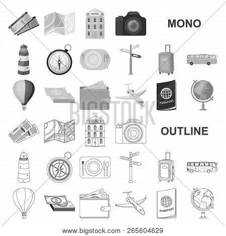 Rest And Travel Monochrom Icons In Set Collection For Design. Transport, Tourism Vector Symbol Stock