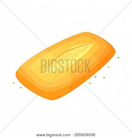 Bread Ciabatta Icon. Bread, Loaf Icon, Vector Illustration Isolated On A White Background. Bakery Pr