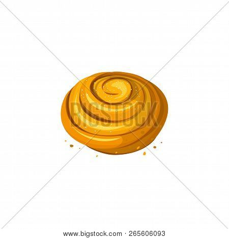 Sweet Cinnamon Bun Roll Isolated On White Background. Loaf Icon, Vector Illustration. Bakery Product