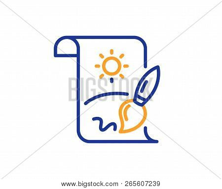 Creative Painting Brush Line Icon. Creativity Sign. Graphic Art Symbol. Colorful Outline Concept. Bl