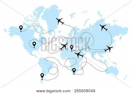 Airplane Line Path Vector Icons Of Air Plane Flight Routes With Start Points And Dash Line Traces. A