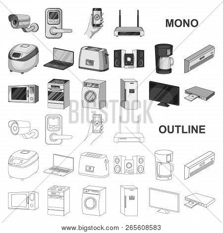 Smart Home Appliances Monochrom Icons In Set Collection For Design. Modern Household Appliances Vect