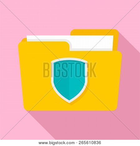 Protected Folder Icon. Flat Illustration Of Protected Folder Vector Icon For Web Design