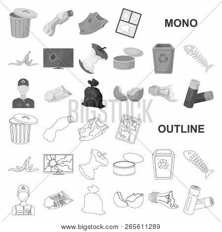 Garbage And Waste Monochrom Icons In Set Collection For Design. Cleaning Garbage Vector Symbol Stock