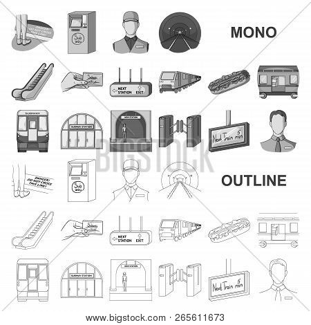 Metro, Subway Monochrom Icons In Set Collection For Design.urban Transport Vector Symbol Stock Web I
