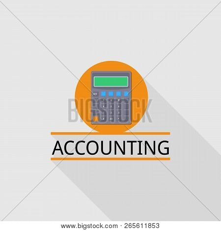 Calculator Accounting Logo. Flat Illustration Of Calculator Accounting Vector Logo For Web Design